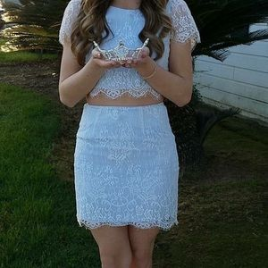 Short two- piece Blue Lace Dress
